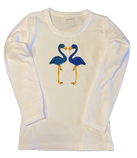 T-shirt blauwe flamingo